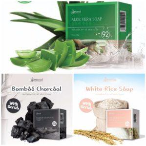 Hanasui Aloe Vera, Bamboo Charcoal, White Rice Soap BPOM